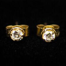 Ladies 1/5ct Natural Diamond 9ct Yellow Gold Halo Stud Earrings