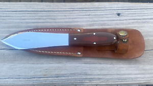 VINTAGE CASE XX FIXED BLADE KNIFE - RARE THROWING KNIFE IN LEATHER SHEATH - NR