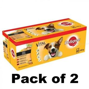 PEDIGREE Vital Protection Dog Food Pouches Mixed Variety in Gravy, 40 x 100g X 2