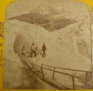 Rare Antique Stereoview, Glacier Des Bossons with Lady Climber, Mont Blanc
