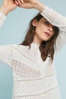 New Anthropologie Burnham Lace Top by James Coviello Eyelet lace blouse size M