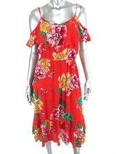 Old Navy Sz Small Midi Dress Red Floral Tiered Cold Shoulder Casual Summer NEW