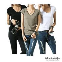 Women's Cotton Deep V-neck T-shirt in White, Black, Green Short Sleeve Australia