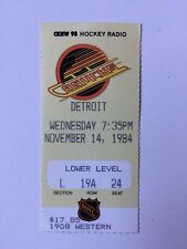 NHL VANCOUVER CANUCKS VS. DETROIT RED WINGS 1984 GAME TICKET STUB