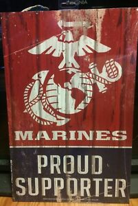 """MARINES Proud Supporter WOOD SIGN 11"""" x 17"""" The FEW The PROUD Brand New USA Made"""