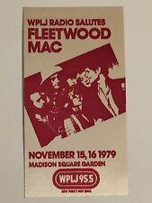Fleetwood Mac Wplj Radio Advertising Sticker Nov.15,16 1979 Concert Unused