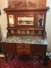 Antique Edwardian Decorative Mirrored Tiled Back Marble Top Wash Stand