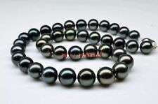 "AAAAA 18""10-11mm Natural REAL ROUND TAHITIAN black pearl necklace 14K GOLD"