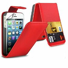RED FLIP LEATHER PHONE CASE WITH CARD SLOT FOR Apple iPhone 4/4S UK free post