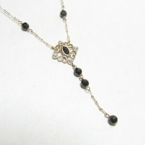 Estate 10K Yellow Gold Natural Black Onyx And Diamond Lariat Necklace 7.00 Cts