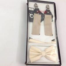 $69.99 Brand Q E20 Mens 3 Pc Set Bow Tie Hankie & Suspender Ivory One Size NWT
