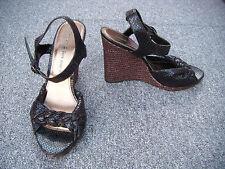 George Black Snake Print Wedge Sandals Size 7/41