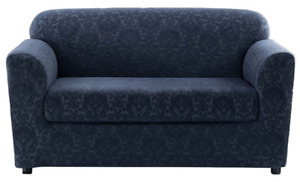 NEW sure fit Stretch Ikat Two Piece Sofa Slipcover navy ink blue jacquard