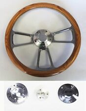 "64-66 Chevy II 2 Nova Impala Oak Wood and Billet Steering Wheel 14"" Bowtie Cap"
