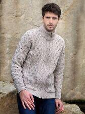 Mens Merino Wool Sweater Cardigan Irish Aran Zip Casual Warm