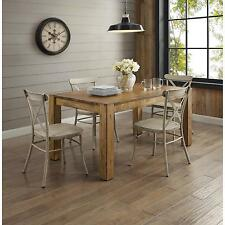 5 Piece Rustic Brown Dining Room Set Home Living Kitchen Furniture White Chairs