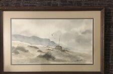 Robert Bob Sugita WATERCOLOR PAINTING BEACH SCENE WATER 1977 Signed Framed Cali