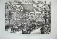 Old Antique Print 1887 Queen London Procession High-Street Aldgate Horses 19th