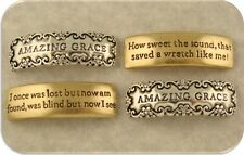 "2 Hole Beads ""Amazing Grace"" Engraved Bars Silver & Gold 2T Metal~ Sliders Qty 4"