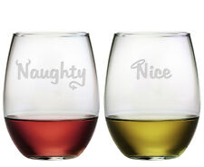 Stemless Wine Glasses Naughty or Nice Christmas Set of 2 Etched Gifts