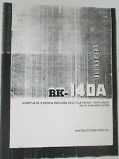 Lafayette RK-140A Instruction Manual Stereo Record and Playback Tape Deck PreAmp