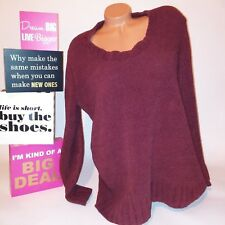 Merona Womens Sweater Large Burgundy Long Sleeve Thick Knit Solid