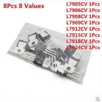 8Pcs 8 Values 7905-7924 7912 L7908-L7918CV L79 Voltage Regulator Assorted Kit