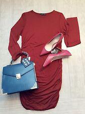 ZARA Women's Dress with Side Gathering(Maroon, US L/EUR L)