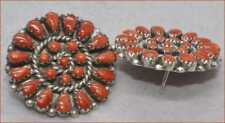LARGE VINTAGE ZUNI CORAL AND SILVER PETIT POINT EARRINGS STAMPED ZUNI RL 925