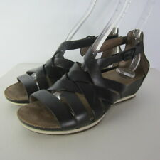 Dansko Womens US 6 EU 36 Vivian Black Leather Gladiator Sandals Peep Toe