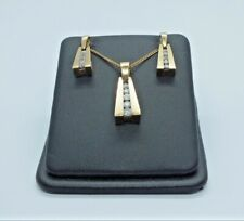 Vintage 9ct Yellow Gold Diamond Earrings & Necklace Set