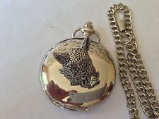 A44 Wild Boar's Head  polished silver case mens GIFT quartz pocket watch fob