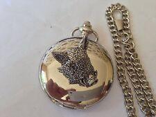 A44 Wild Boar's Head  polished silver case mens GIFT quartz pocket watch fob
