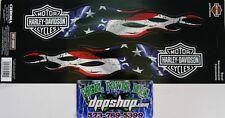 2 harley davidson HD usa flag flames motorcycle bike decal sticker bar shield