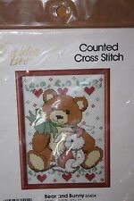 """New Bear & Bunny Counted Cross Stitch Kit~Size 5"""" x 7""""~by Golden Bee~Mauve Frame"""