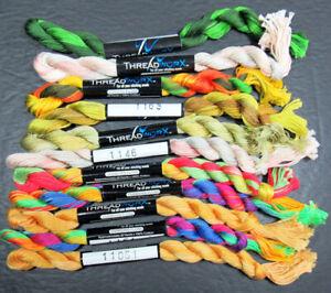 11x Needlepoint/Embroidery THREAD THREADWORX Hand-dyed Cotton Fls-mixed-XW125