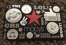 "MACY'S GIFT CARD ""EMOJIS SLANG"" LOL! TMI GR8 # WOOT NO VALUE COLLECTIBLE NEW"