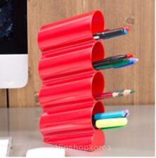 Pen Pencil Case Wave Vertical Holder Desktop Tower Organiser Desk Styler - RED