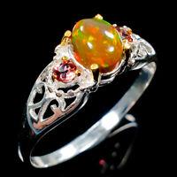Fashion Art Design Natural Black Opal 925 Sterling Silver Ring Size 8.75/R109846