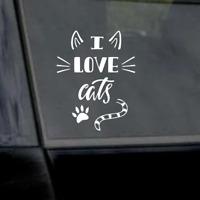 "6"" I Love Cats Sticker-Cat Lover-Cat Mom-Cat Dad Vinyl Window Car Laptop Decal"