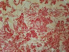 3 VTG CURTAIN PANELS RED FRENCH COUNTRY TOILE DE JOUY PLEATED TOP DRAPES 24X82