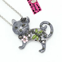 Betsey Johnson Enamel Crystal Cute Flower Cat Kitten Pendant Necklace/Brooch Pin