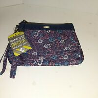 Travelon Travel Bag 2 Wristlet Clutch RFID Blocking Safety Dark Blue Floral