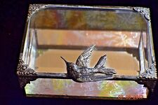 Vintage Silver plated Casket Jewelry Bird Deco Aurora Sides Beveled glass,Mirror