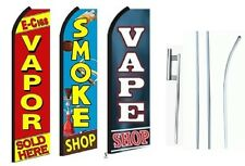 vapor, smoke vape shop King Size  Swooper Flag Sign  W/Complete 3 Set