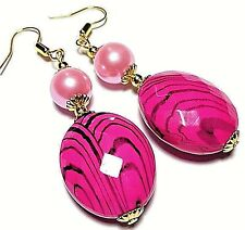 Gold Earrings Pink Pearl Glass Beads Hooks, Clip On or Butterfly Studs