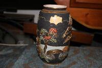 Antique Japanese Asian Satsuma Moriage Vase Raised Scenes Signed Spiritual Men