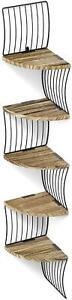 Corner Shelf Love-KANKEI Wall Mount 5 Tier Rustic Wood Floating Shelves Display