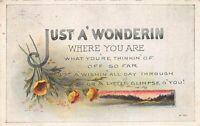 "Vintage ""Just A' Wonderin"" Poem 1923 Postcard"