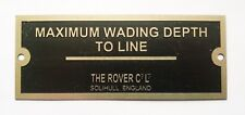 MAXIMUM WADING DEPTH Land Rover OFF ROAD WINCH challenge etched dash Badge
